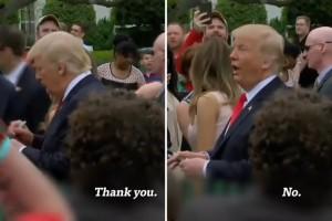 これは酷い。子供がトランプ大統領にサインをお願いした結果・・・(動画)