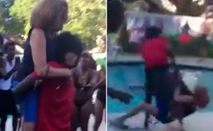 【動画】黒人のパーティーがうるさいと注意した高齢の女性、暴行され、プールに投げ込まれる…