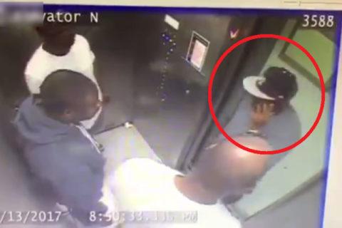 【動画】黒人の男3人が乗ってるエレベーター、絶対に1人で乗ってはいけなかった・・・
