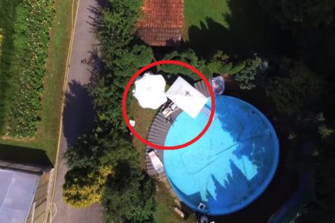 【動画】ドローンでプールにいる女の子盗撮しようとした結果・・・