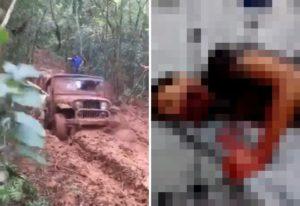 【閲覧注意】山道で動けなくなった車を牽引 ⇒ ロープが外れ運転者を直撃、衝撃の事態に…(動画)