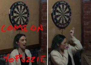 【狂気】ダーツで彼女の顔面を的にした彼氏、見事眼球を貫いてしまう…(動画あり)