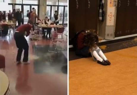 """【衝撃映像】高校生、全校生徒の昼食に """"下剤"""" を入れ大惨事に。女子生徒も廊下で下痢を噴出"""