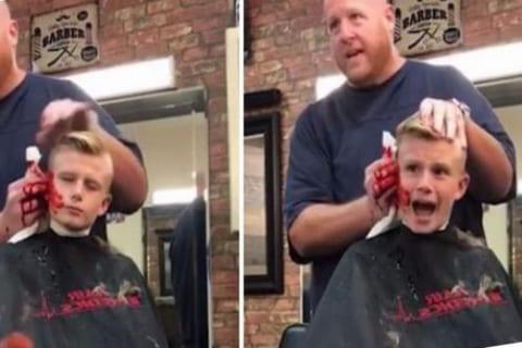 【狂気】床屋さん、小学生に「耳を切り落としちゃった」ドッキリをやってしまう…(動画あり)