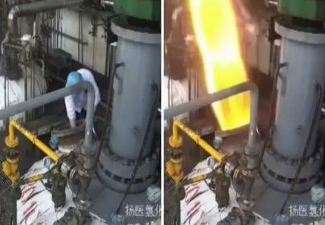 """【衝撃】""""水素化反応器"""" の爆発をまともに受け死亡した作業員の映像、信じられない"""