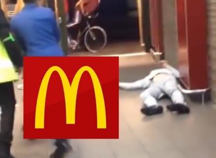 【動画】マクドナルドでめっちゃイキってたDQN、ガチで強い奴にワンパンでKOされるwww
