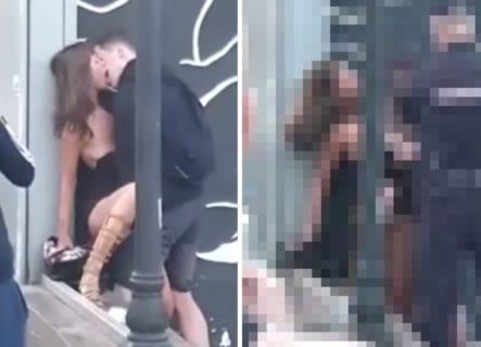 【動画】街中でDQNに囲まれながらセ○クスしてるカップル ⇒ 1分後こうなりますwww