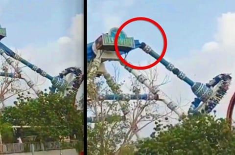 【閲覧注意】2日前の、31人が死傷した遊園地事故の瞬間。これは助からないわ…
