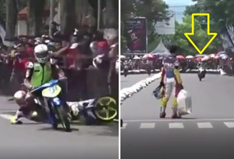 【復讐】ロードレースで別のバイクに転倒させられたライダー ⇒ そのバイクがもう1周回ってきた所で…!