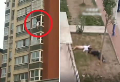 【閲覧注意】飛び降り自殺女性、救助者もろとも飛び降り、殺してしまう…(動画)