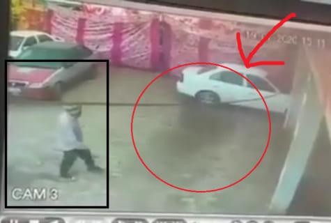 """実際の映像。監視カメラに """"黒い煙"""" が映った直後、近くにいた人に恐ろしい事が起きた"""
