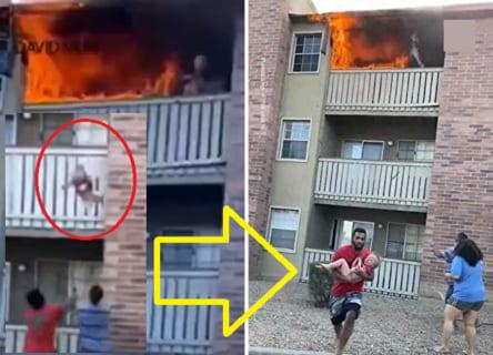 【衝撃】火事のアパートから母親が投げ捨てた3歳児を米海兵隊員がダイビングキャッチ