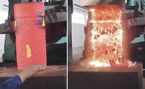 """【驚愕】油圧プレスで1000℃の """"溶銑"""" をプレスしたら物凄い事になった"""