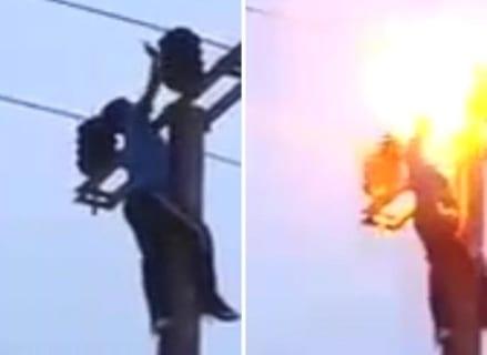 【閲覧注意】小学生、遊びで「電柱の一番上」を触った結果爆死(衝撃映像)