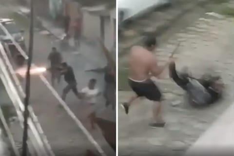 【衝撃映像】銃を持った警察官4人、刃物を持ったパワー系ガ○ジに敗北し1人が死ぬ