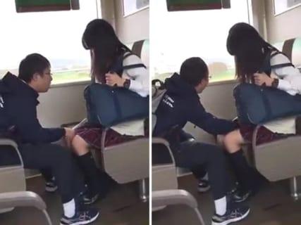 【ガチ動画】女子生徒、電車内で障害者(男)に手マンされてしまう