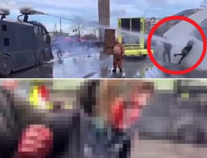 【閲覧注意】抗議デモの女の子、高圧放水砲で壁に叩き付けられこうなる(動画あり)
