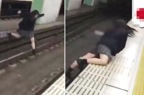 【閲覧注意】DQN高校生「駅のホーム横断したろwww」⇒ 結果…(衝撃動画)