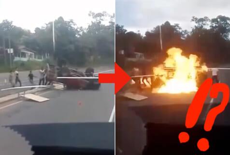 【閲覧注意】横転した車の運転手「助けて!」人々「よーし、起こすぞー。せーの!」⇒ 大炎上